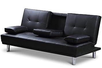New U0027Sleep Designu0027 Manhattan Modern Faux Leather Sofa Bed With Drinks Table  U0026 Cushions