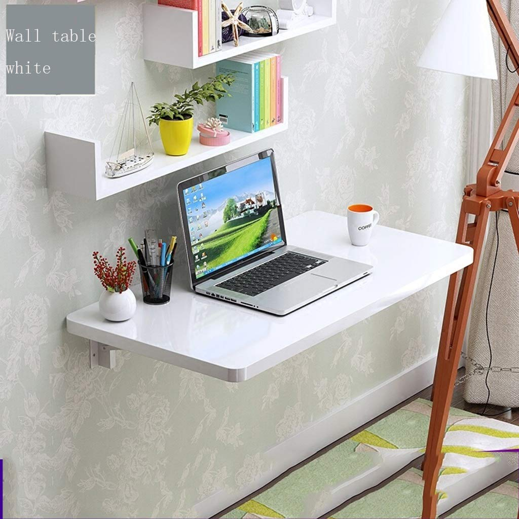 White 6040cm HQCC Folding Table Computer Desk, Desk, Wall Hanging. Wall Hanging Folding Table, Home Small Office Desk (White 60  40cm) (color   Multi-colord, Size   80  40cm)