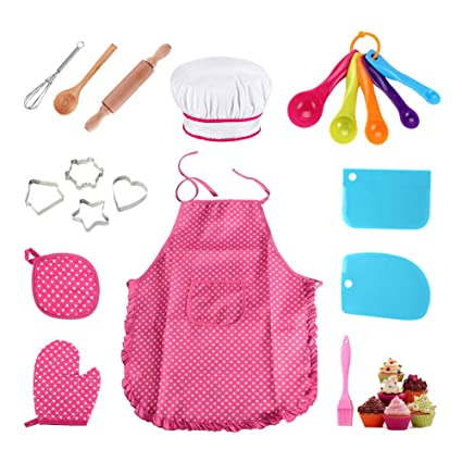 11pcs Kitchen Costume Role Play Kits Girls Waterproof Apron Hat Cute Child Cooking Cutters Diy Baking Tools Quality First Household Cleaning Protections