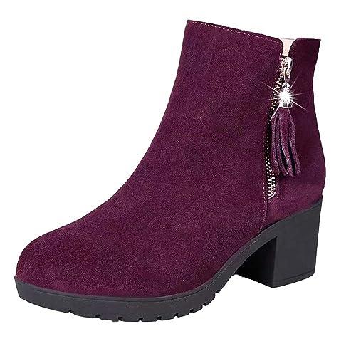 Botines para Mujer K-youth Botas Mujer Invierno Zapatos Mujer Plataforma Botines Mujer Tacon Ancho Fiesta 2019 Moda Botines Mujer Tacon Bajo Martin Zapatos ...