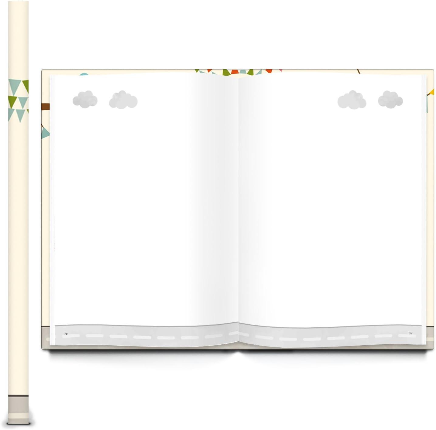 Logbuch-Verlag XXL diario taccuino beige colorato per bambini beb/è neonati orsetto macchina A4 vuoto scrivere copertina rigida