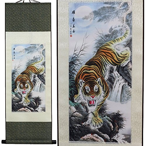 (SpecialArt Tiger Asian Wall Scroll Art 12x40 inch, Fengshui Artwork for Wall Decoration, Silk Wall Poster Prints Gift for Thanksgiving (Picture C))