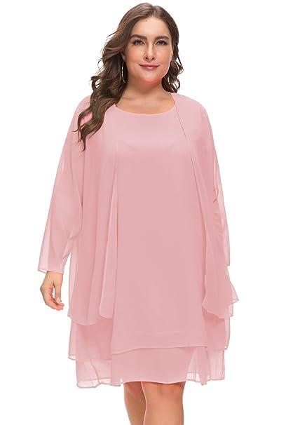 MISSJOY Plus Size Women\u0027s Chiffon Dress Mother of The Bride Dresses with  Jacket Long Sleeve 2pcs Set Knee Length