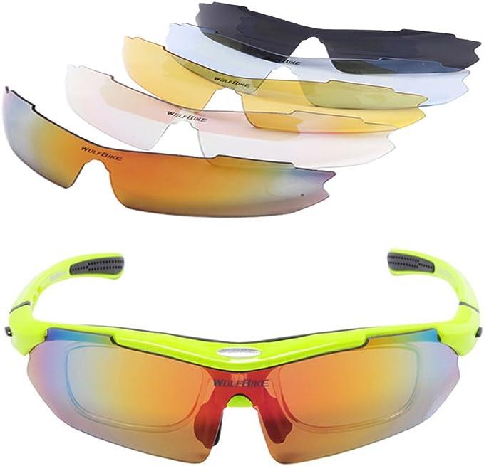 WOLFBIKE polarizadas deporte gafas de sol con marco de miopía y 5 lentes intercambiables para ciclismo motocicleta senderismo conducción Correr: Amazon.es: Deportes y aire libre