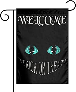 Happy Halloween Black Cat Teal Eye Trick Or Treat Burlap Garden Porch Lawn Flag Farmhouse Decorations Mailbox Decor Welcome Sign 12x18 Inch Small Mini Size Double Sided Flax Nylon Linen Fabric