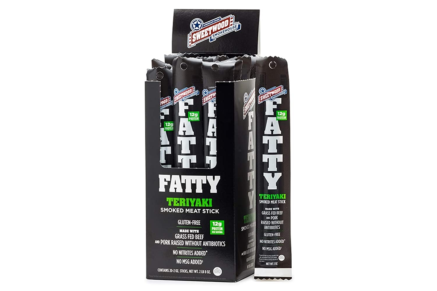 Sweetwood Smokehouse Fatty Meat Stick | Teriyaki Flavor | 20 Pack | 2 oz Sticks | USA Grass Fed Beef, Antibiotic Free Pork | Paleo, Gluten Free, Slow Smoked Meat Snack | No Nitrites or Added MSG