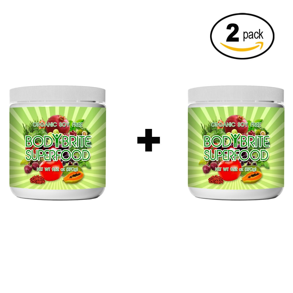 Superfood Powder Total BodyBrite for diet, weight loss, energy boost, or detox. Best green superfood nutritional supplement. 21 delicious fruits, greens & vegetables. Amazing antioxidants. (2 Pack)