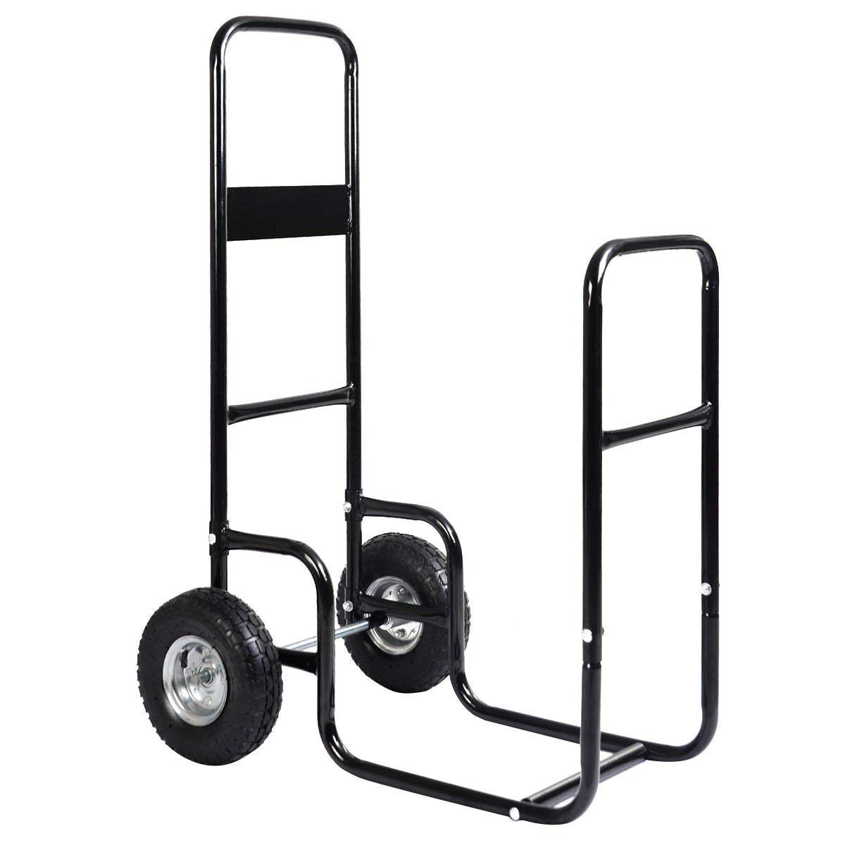 MyEasyShopping Rolling Firewood Carrier Wood Mover Firewood Cart Carrier Wood Mover Rolling Hauler Dolly Rack Caddy Log Fire