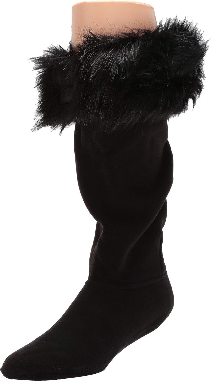 Hunter Women's Original free shipping Tall Faux Fur UK Boot Bla Cuff 3-5 Washington Mall Socks
