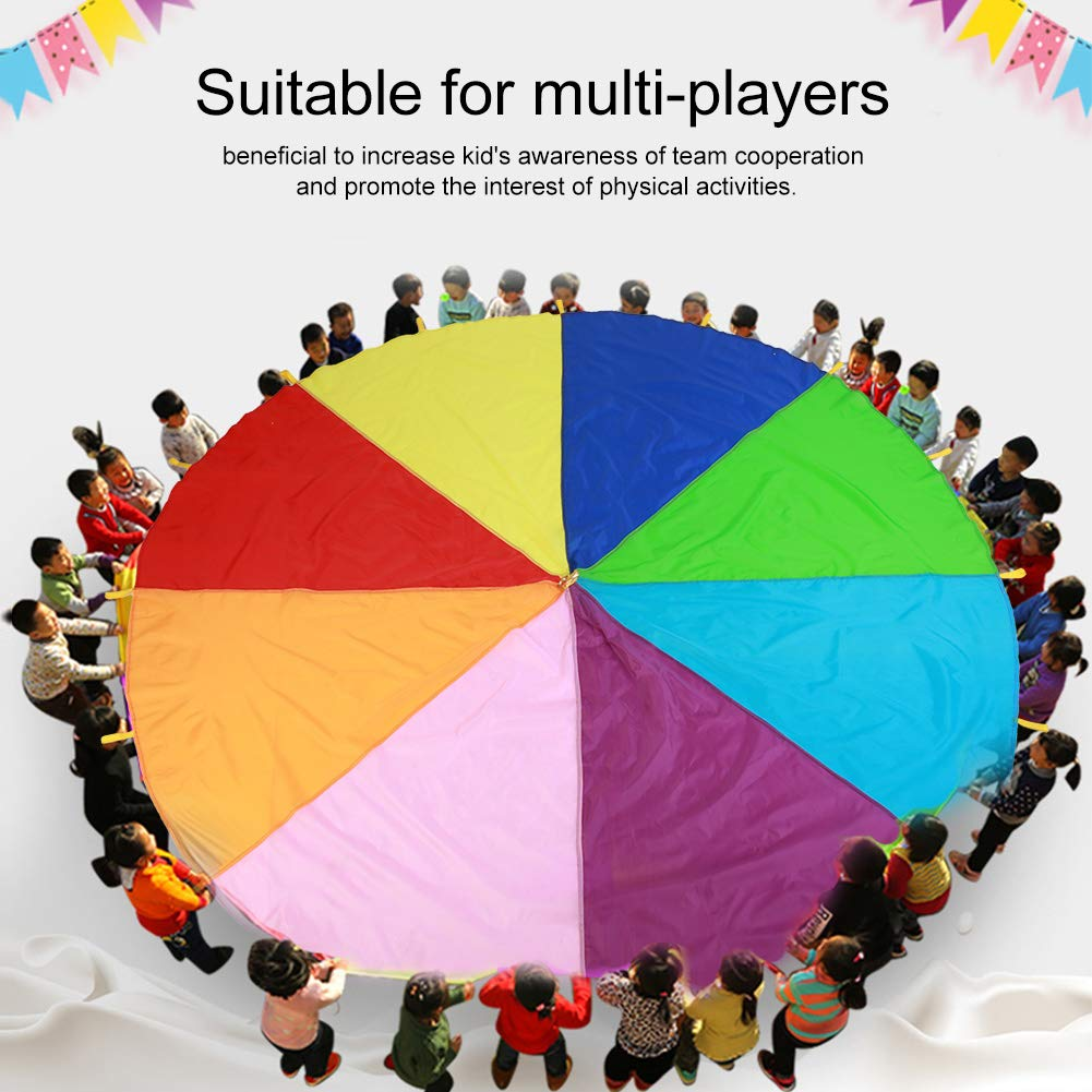 TMISHION Parachute, Children Fames Kindergarten Early Education Toy for Parties Sports Activities Group Outdoor Exercise, 3m 3.6m 6m(3M) by TMISHION (Image #4)