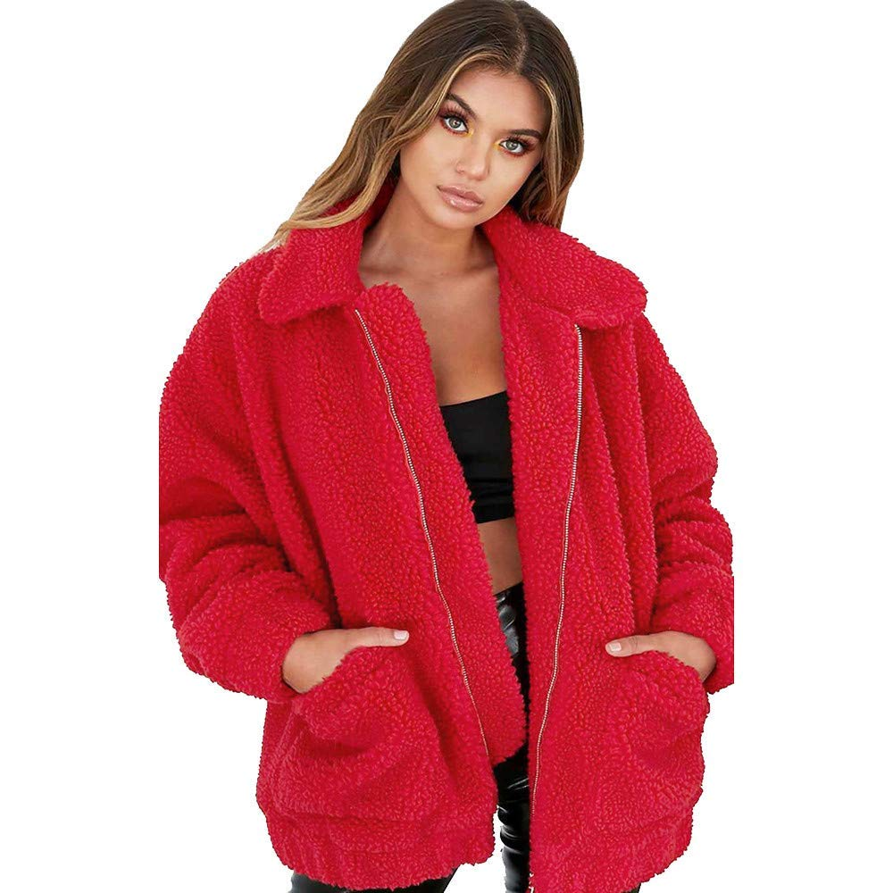 D SUNNY Store Women's Fashion Zip Up Faux Shearling Shaggy Oversized Coat Jacket with Pockets