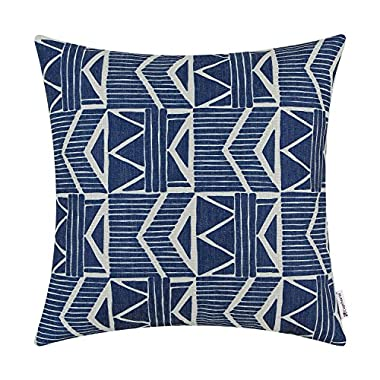 Euphoria CaliTime Cushion Cover Throw Pillow Shell Southwestern Geometric 18 X 18 Inches Navy Blue