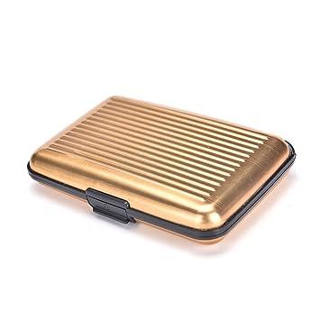 Cartera aluminio con bloqueo RFID, Cartas de credito, hombre i mujer, Garantia de vida (oro): Amazon.es: Equipaje