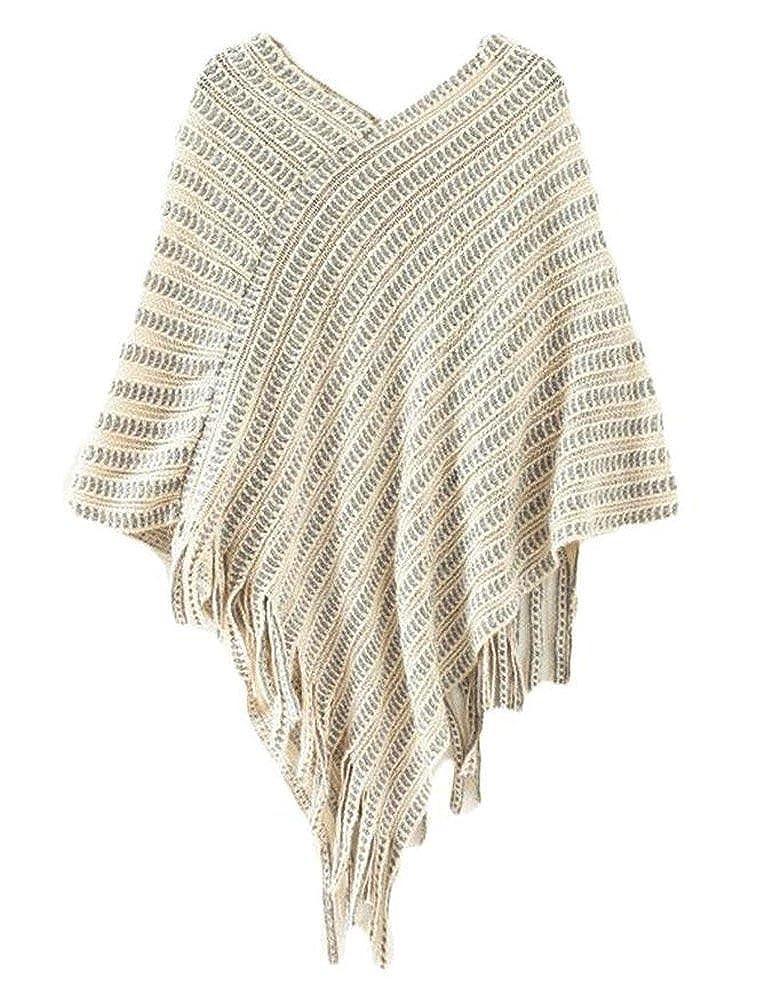 Novawo Womens Elegant Tassel Poncho Cape Shawls Batwing Knit Sweater ...