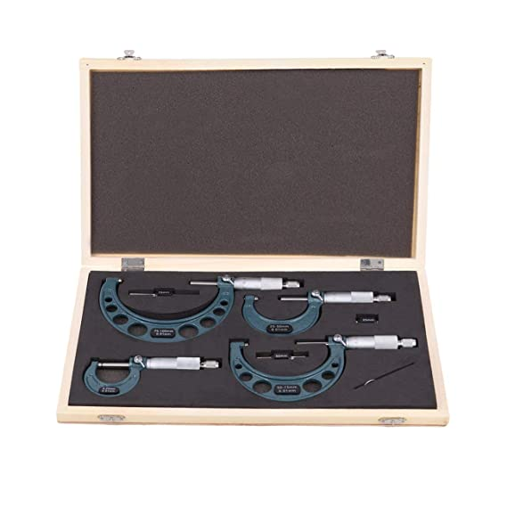 Ridgeyard Außen Mikrometer Bügelmessschrauben Set0 100mm Werkzeug Mit 4 Stücken In Holz Case Gewerbe Industrie Wissenschaft