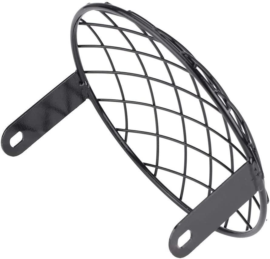 BiuZi moto 7masque de couvercle universel de montage lat/éral de grille de maille pour Cafe Racer Noir Moto phare Grill