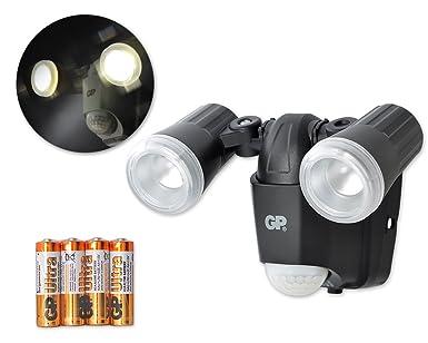GP Impermeable luces al aire libre con detectores de movimiento luz de seguridad sin cable [