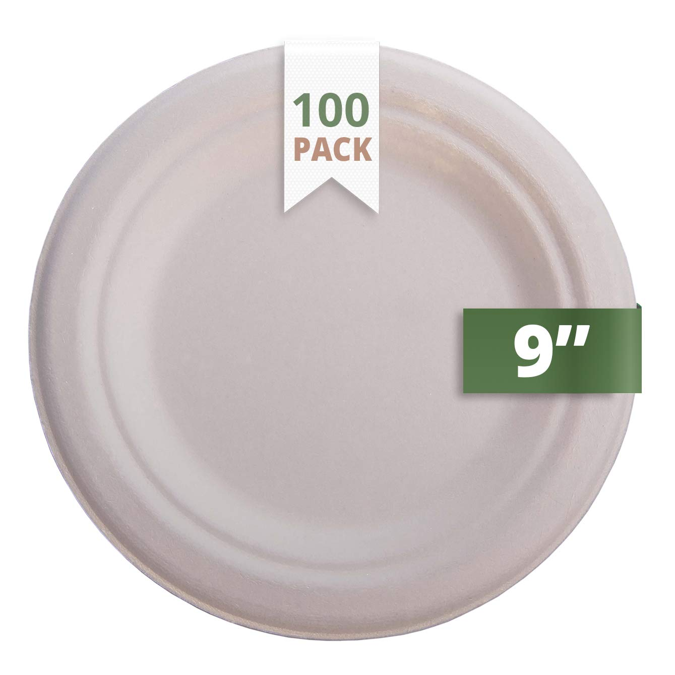 CaterEco 612409799067 [100 Count] Natural Bagasse 9'' Plate (Pack of 100)