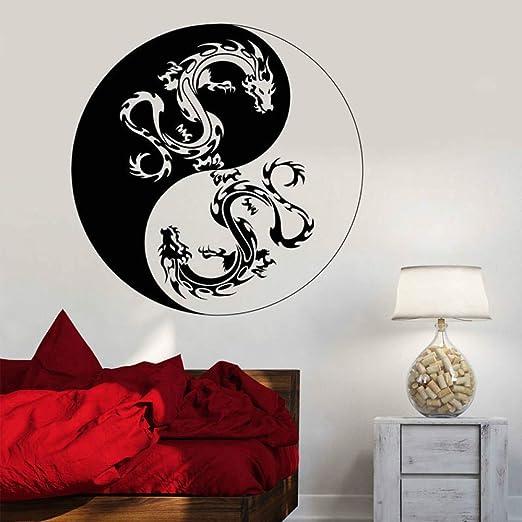 Dos Dragón Chino Tatuajes de Pared Yin Yang Dragón Budismo Símbolo ...
