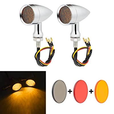 PBYMT Motorcycle Bullet Turn Signal Light Amber Lamp Compatible for Chopper Bobber Cruiser Honda Suzuki Kawasaki Yamaha Harley BMW KTM and More (Chrome Housing): Automotive
