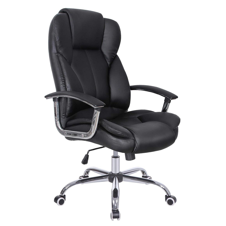 SONGMICS Sedia da Ufficio con Sedile Largo Cuscino Portatesta e Seduta Spessa Design Ergonomico Nero OBG57B Altezza Regolabile