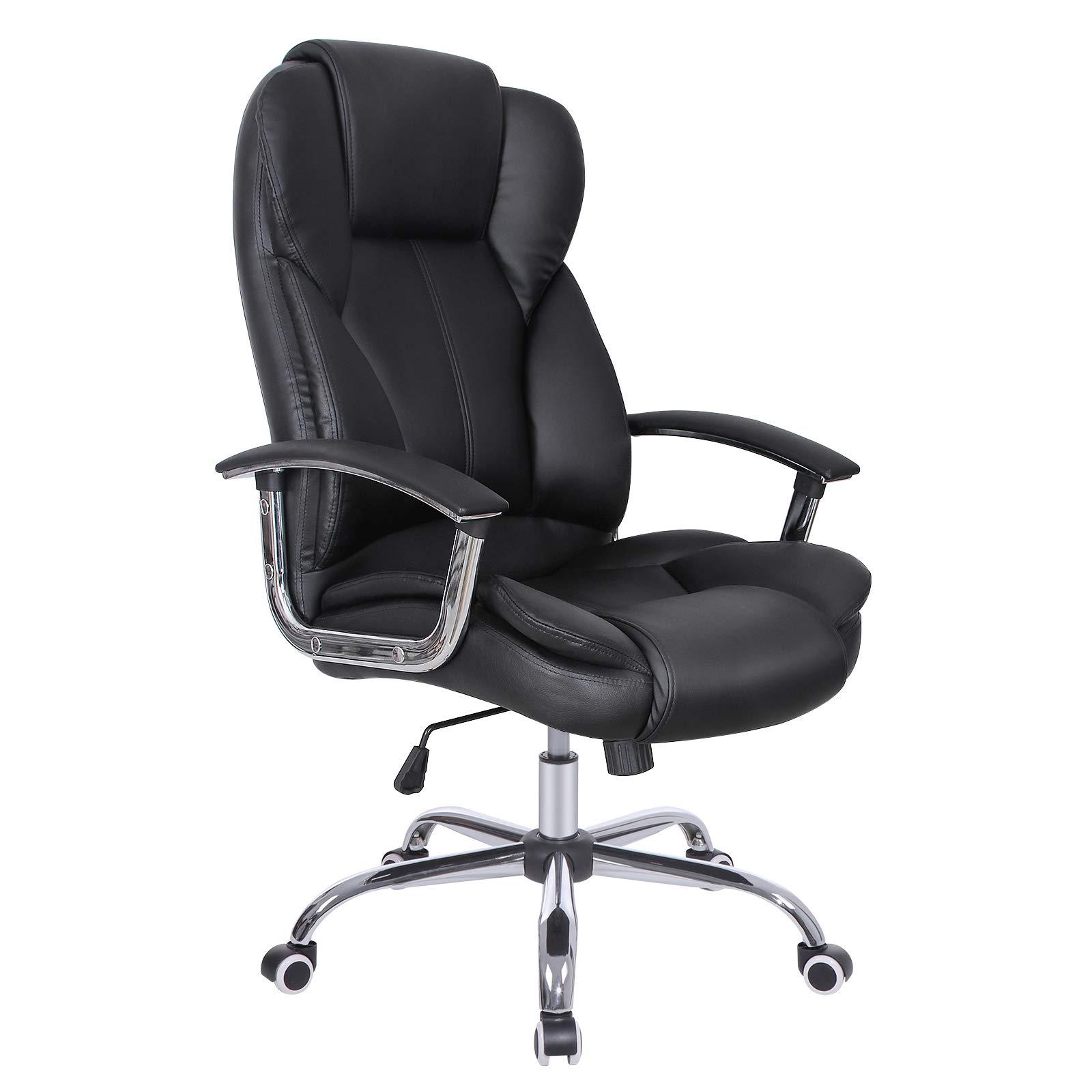 SONGMICS Fauteuil de bureau, Large assise rembourrée, avec Appui-tête, Hauteur réglable, Ergonomique, Noir OBG57B product image