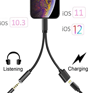 Headphone Adapter Jack 2 in 1 Adapter for iPhone Xs/Xs Max/XR/ 8/8 Plus/X (11) / 7/7 Plus Adapter Listen to Music Adapter Audio and Charge 3.5mm Splitter Converter Compatible with Adaptor Charger