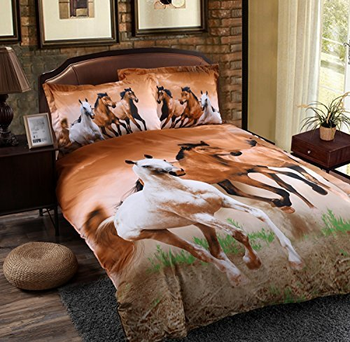 (Babycare Pro Galloping Horse Reactive Print Polyester 3D Duvet Cover Bedding Sets Queen Size 4 Pieces( Comforter Not Included)(Queen))