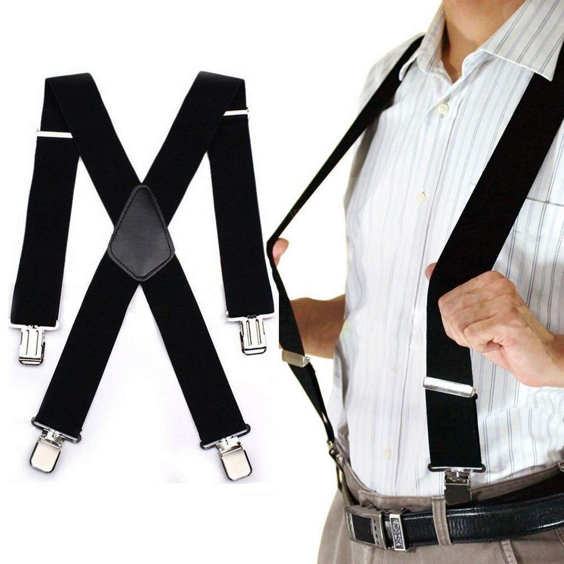 Vnown Mens Suspenders X-Back 2 Wide Adjustable Solid Straight Clip Suspenders