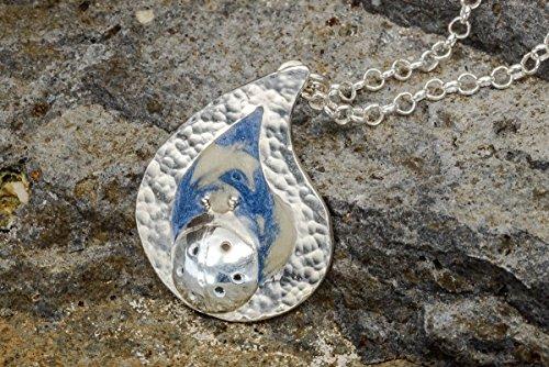 (Handmade Sterling Silver Ladybug Teardrop Pendant Necklace, Blue & Off White Drop, Designer)