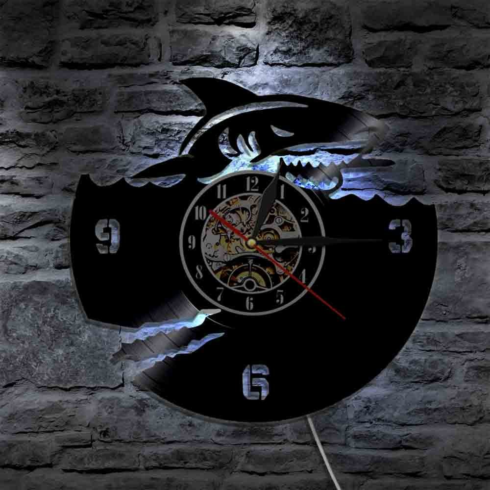 The Geeky Days Ocean Animals Shark Vinyl Record Wall Clock Great White Shark Modern Design Wall Watch Art Interior Home Decor Marine Jaws Gifts (With Led) by The Geeky Days (Image #3)