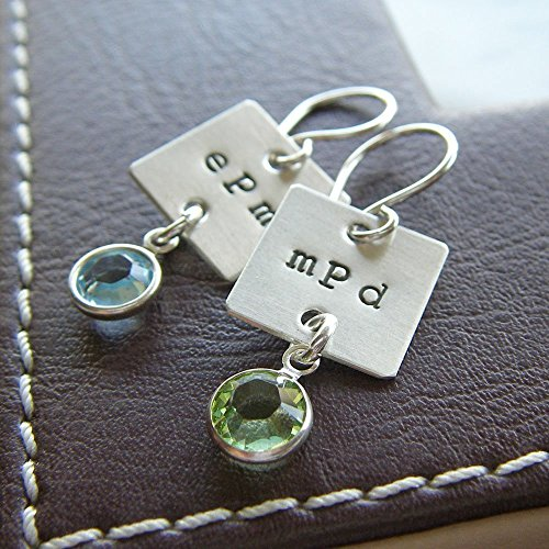 Stamped Pearl Sterling Silver Ring - Dangle Earrings Personalized Monogram Charm - Hand Stamped Sterling Silver and Birthstones or Pearls