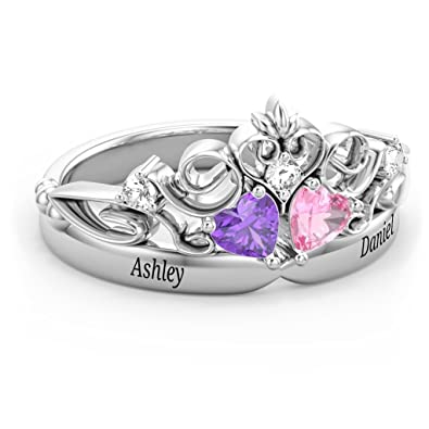 672e8b4f5 Amazon.com: Sterling Silver Royal Romance Double Heart Tiara Ring with  Engravings and Personalized Birthstones by JEWLR: Jewelry