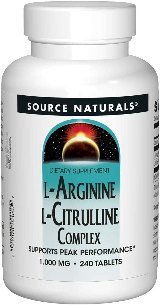 Source Naturals L-Arginine L-Citrulline Complex 1000mg Essential Amino Acid Supplement – 240 Tablets