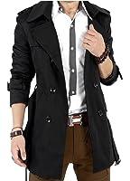 (アルファーフープ) α-HOOP メンズファッション 無地 スーツ ビジネス カジュアル トレンチ コート 長袖 アウター 上着 大きいサイズ S ~ XL 大人 男 性 用 QP-R