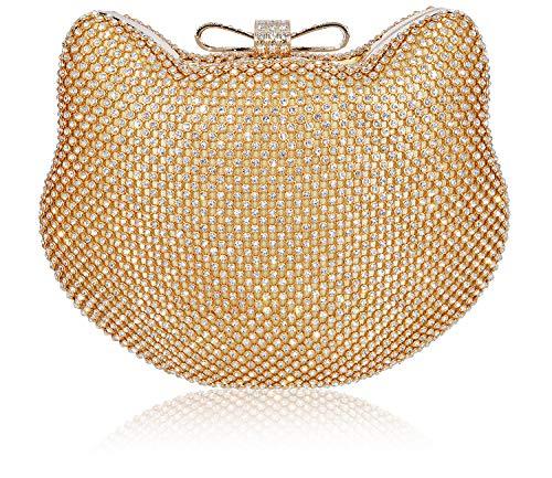 Mossmon Crystal Clutch Cat Shape Luxury Rhinestone Women Evening Bag (Gold)