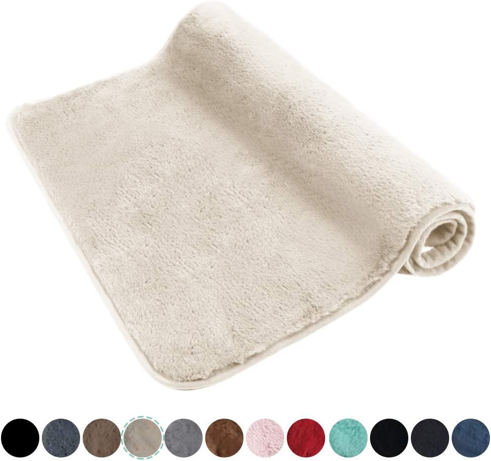 """Ultra Soft Plush Microfiber Bath Mat 17""""x24"""", Extra Fluffy Shaggy Small Bathroom Rug, Machine Washable Dry Anti Slip Bath Carpet, Beige"""