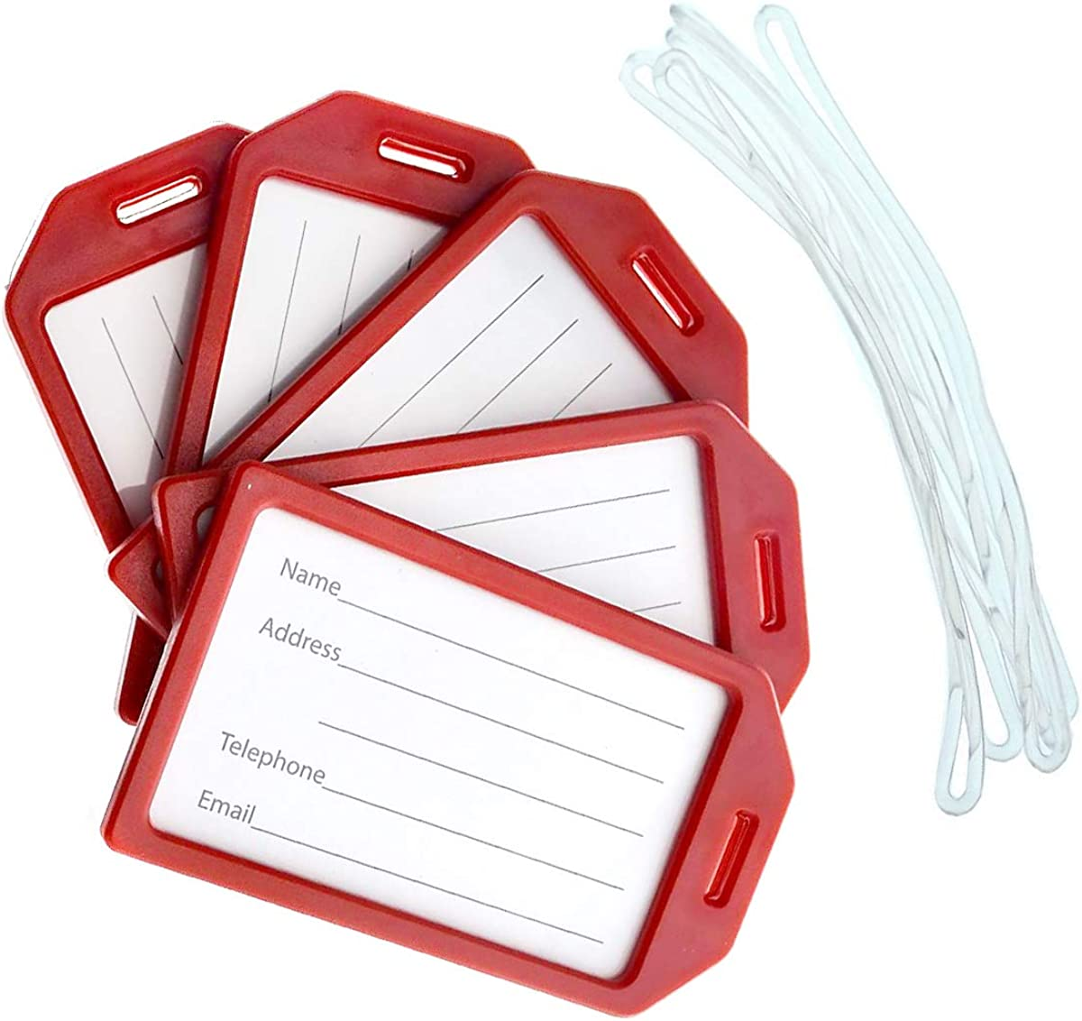 """5 Pack of Premium Rigid Luggage Tag Holders with 6"""" Worm Loops by Specialist ID"""
