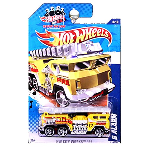 Hot Wheels 2011 HW City Works 5 Alarm Fire Truck Engine with Ladder Yellow -