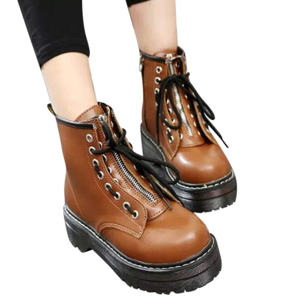 Robemon♚Retro Fasion Automne Martin Bottes Femme Faible Cuir Épais Seul Boots Talon Plate Cheville Avant À Lacets Chaussures