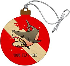 GRAPHICS & MORE Personalized Custom 1 Line Shark Diving Flag Wood Christmas Tree Holiday Ornament