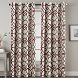 Thermal Insulated Blackout Curtains Room Darkening Grommet Curtain Drapes for Living Room Bedroom - 52 inch Width by 84 inch Length - Pair Set - Taupe and Red Geo Pattern
