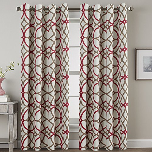 Home Decoration Window Treatment Thermal Insulated Blackout Living Room Curtains Kids Curtains for Bedroom Grommet Drapes and Curtains, Taupe and Red Geo Pattern, 2 Panels, W52 x L84 inch