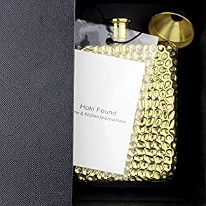 Hoki Found Liquor Flask with Hammered Design - Gold Plated Hip Flask And Tunnel Set - Vintage Flask - 6 oz flask for liquor - Personalized Flask - Father's Day Gift - Flask for father