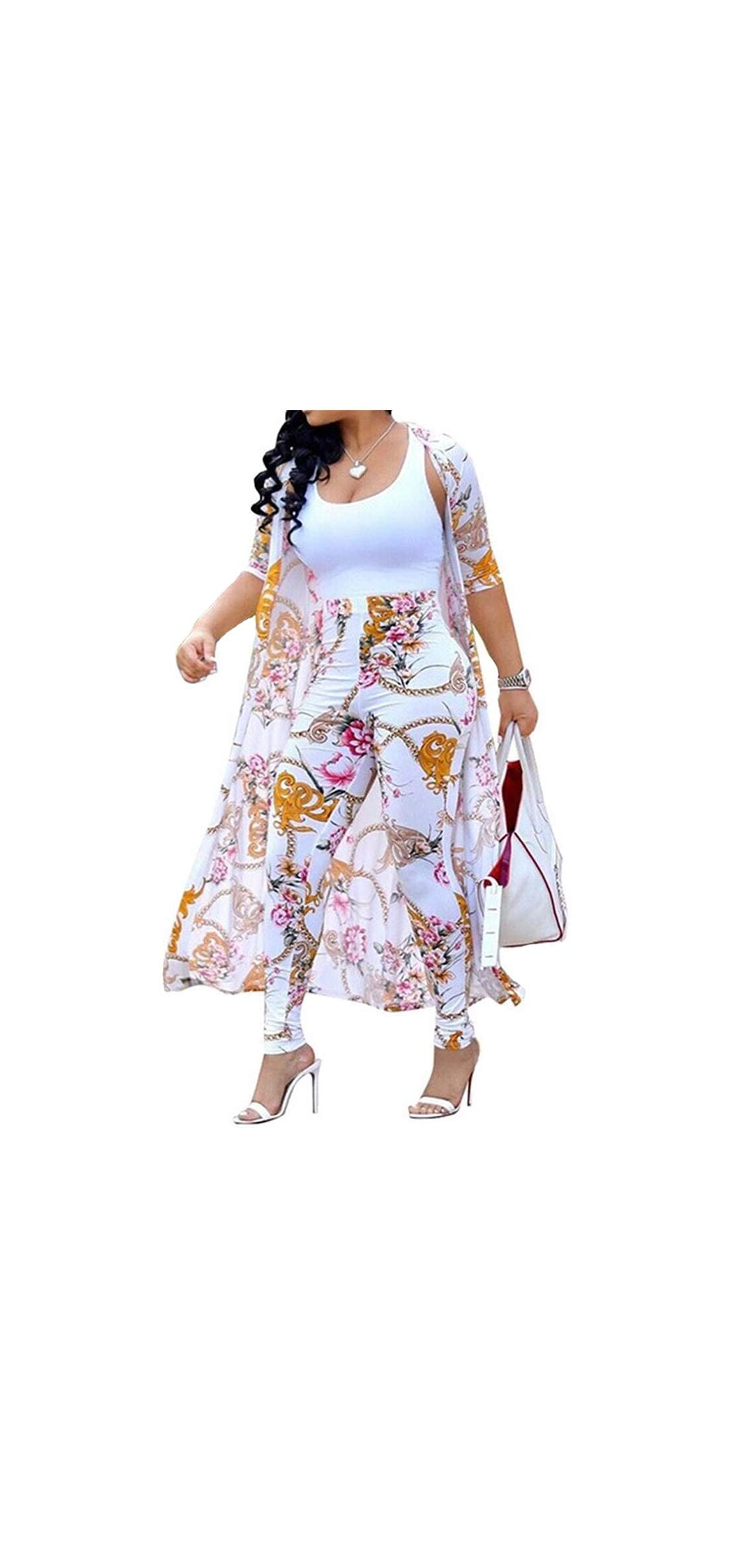 Women's  Piece Outfits Floral Long Sleeve Open Front Cardigan