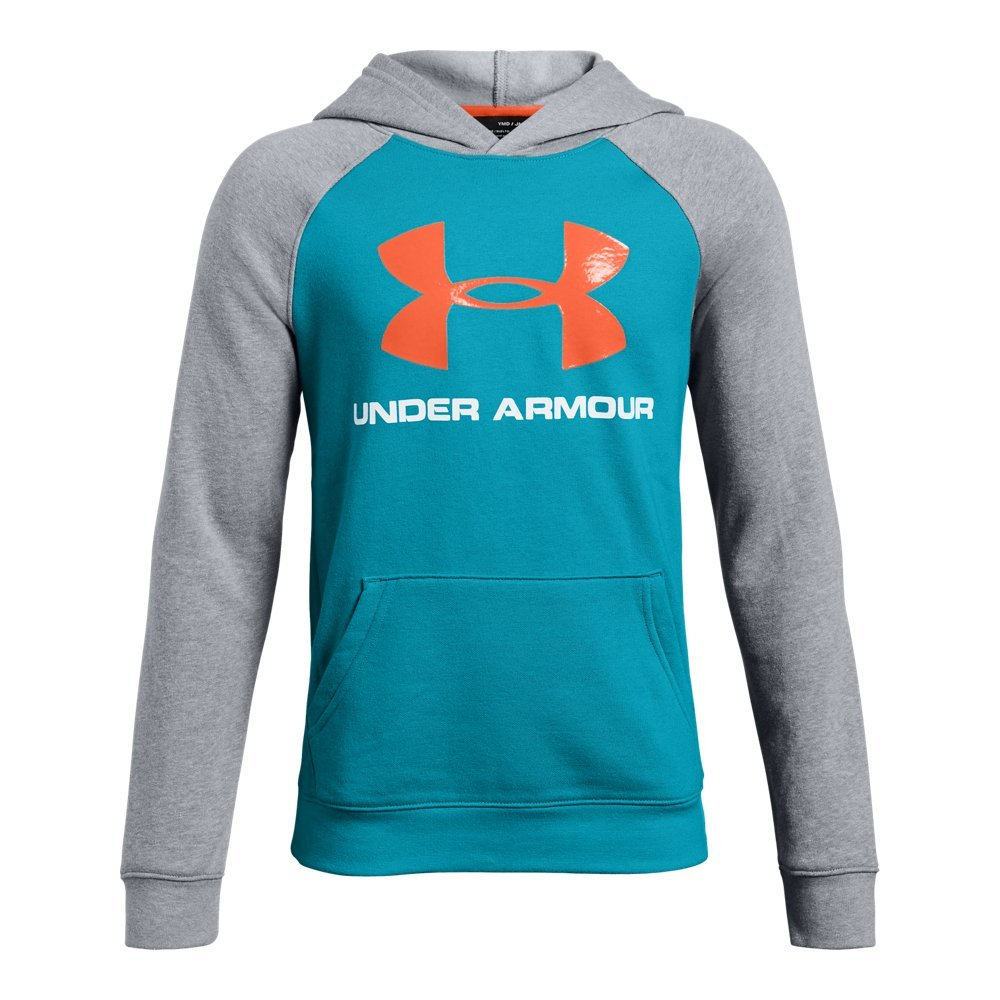 Under Armour Boys Rival Logo Hoodie, Deceit (439)/Magma Orange, Youth Small by Under Armour