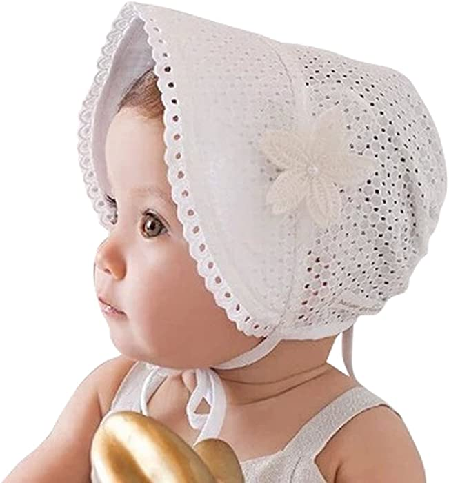 Little Kids Toddlers Classic Breathable Sun Protection Hat with Eyelet Lace Trimmed