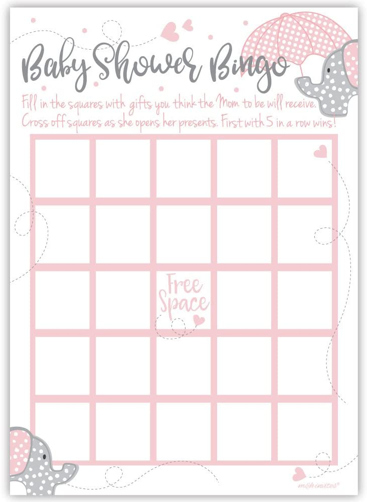 50 Pink Elephant Bingo Game Cards Girl Baby Shower
