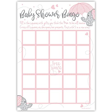 amazon com 50 pink elephant bingo game cards girl baby shower