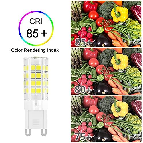 DiCUNO G9 LED Bulb, 4W (40W Halogen Equivalent), Daylight White 6000K, 110V 120V 450LM, G9 Ceramic Base Non-dimmable Light Bulbs for Chandelier, Home Lighting, (6-Pack)